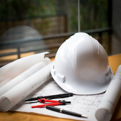 Hard hat and paper image