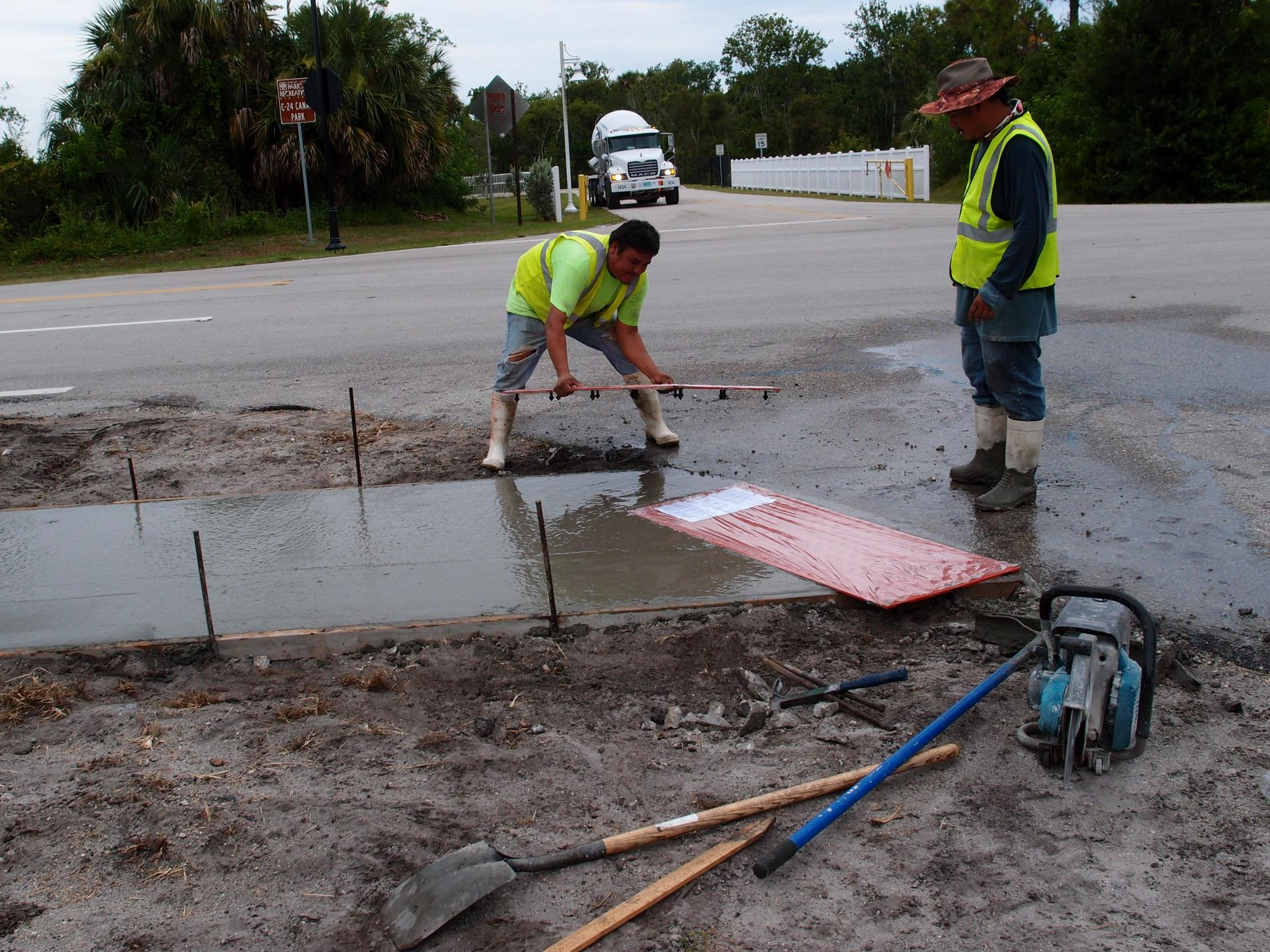 Staff working on curb construction