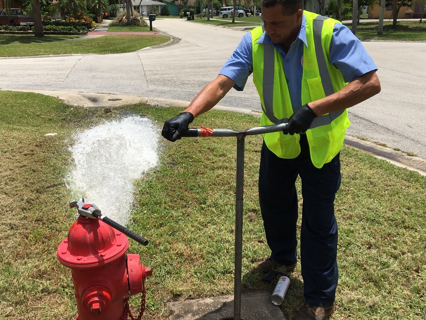 hydrant flush with utility worker