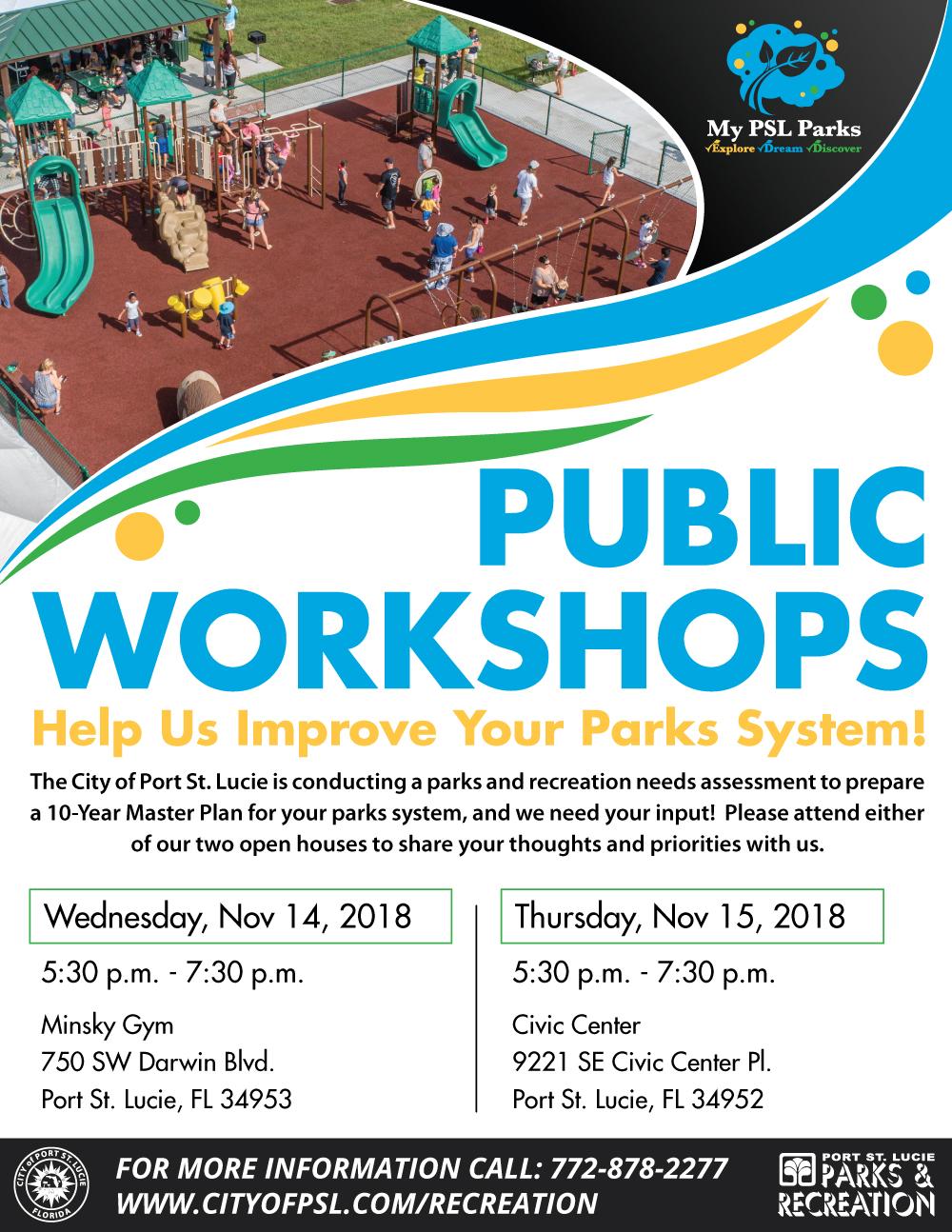P&R 10-Year Master Plan Workshops Flyer