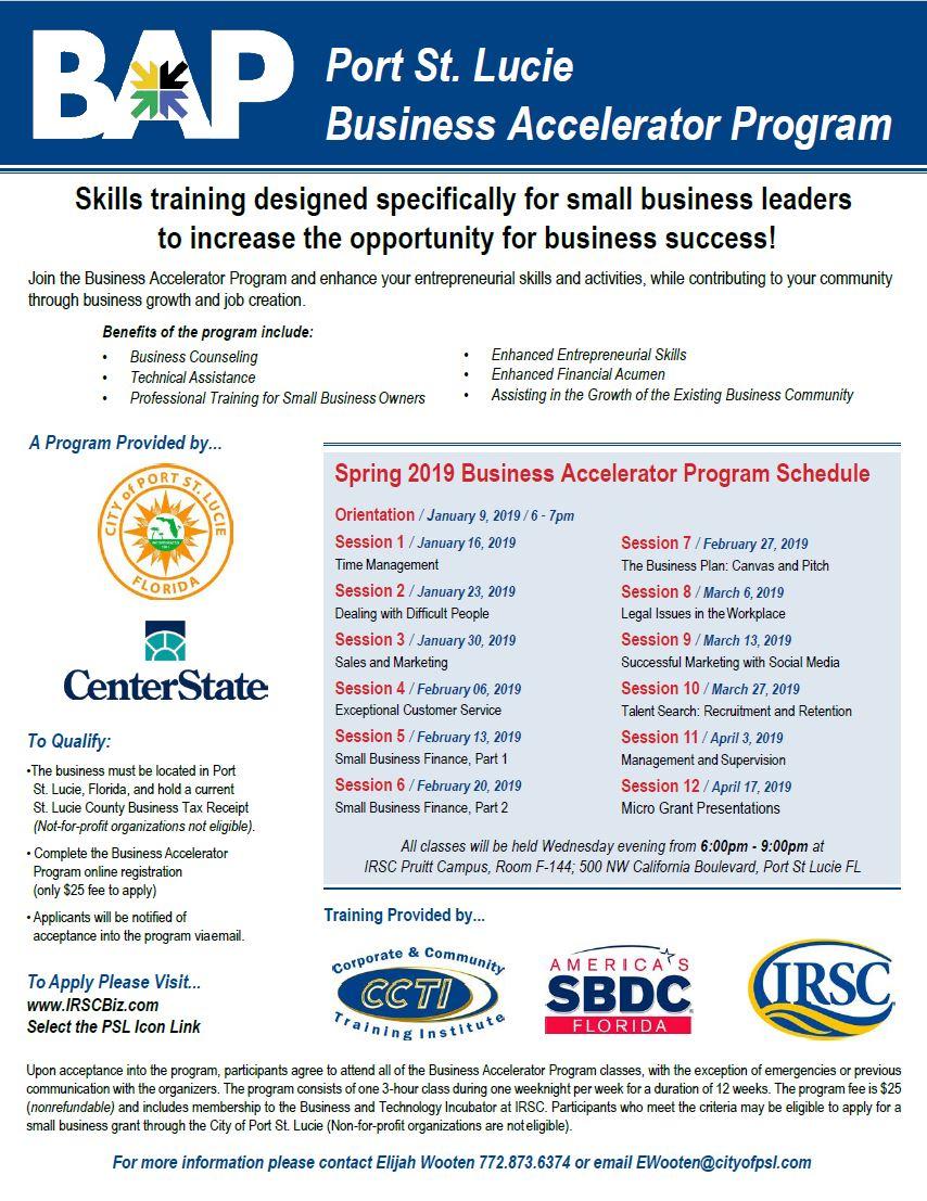 Business Accelerator Program Flyer 2018