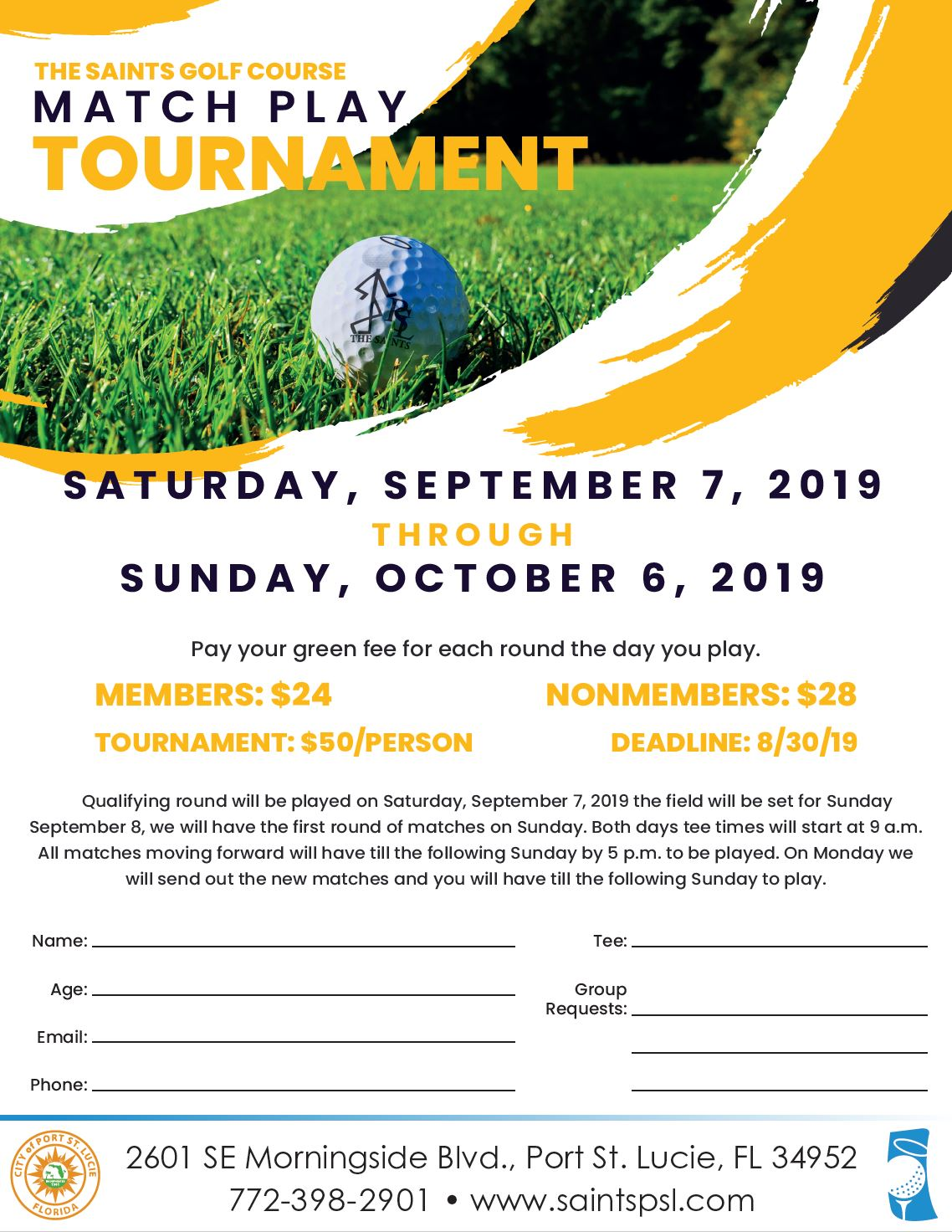 Match Play Flyer and Registration Form