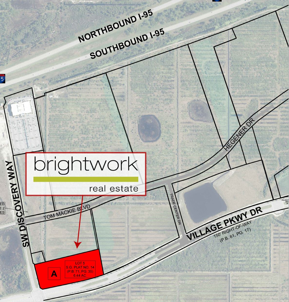 Brightworks Parcel on map aerial