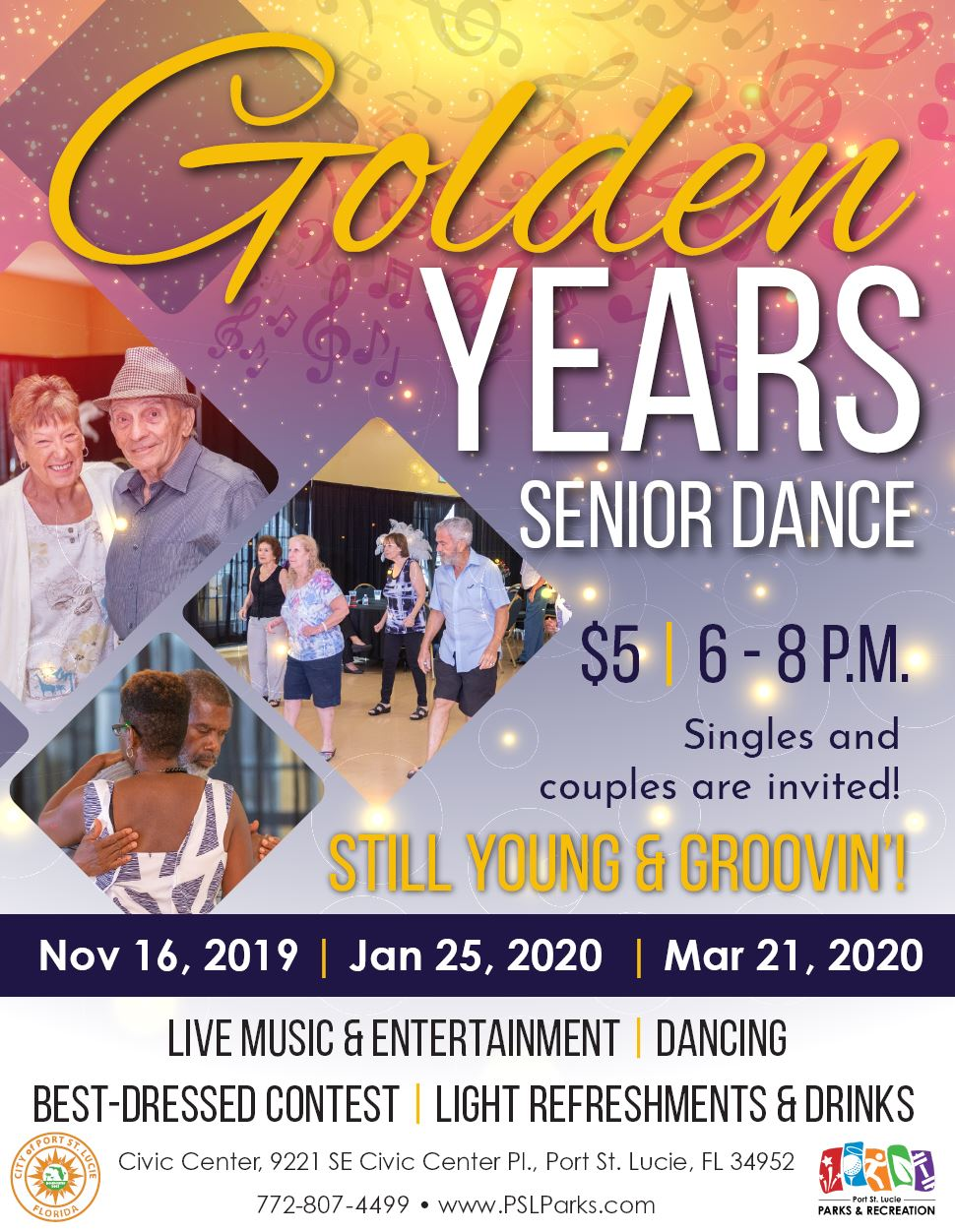 Senior Social Dance Golden Years 11/16/19, 1/25/20, 3/21/20