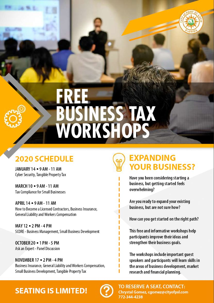 2020 Schedule Free Business Tax Workshops Flyer