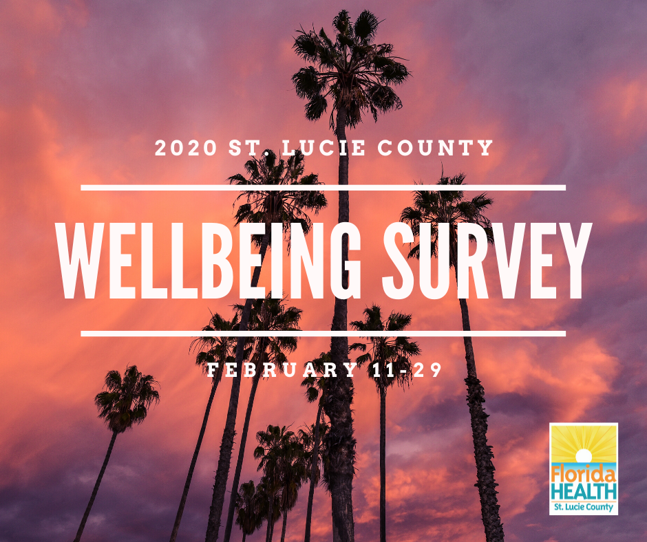Wellbeing Survey Graphic with sunset and palm trees