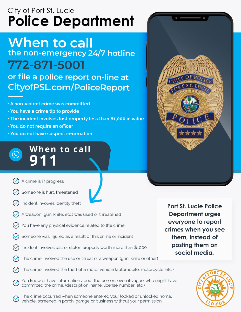 PD When To Call 911 Flyer