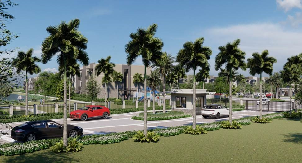 rendering of front of apartments with gate