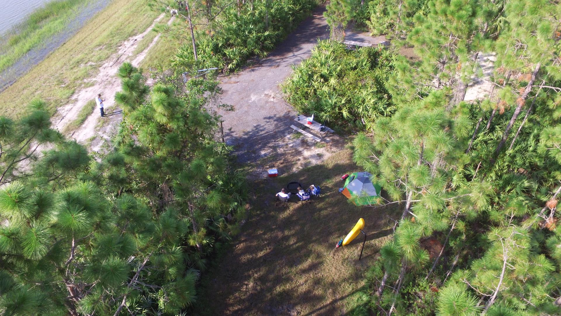 Aerial of family camping