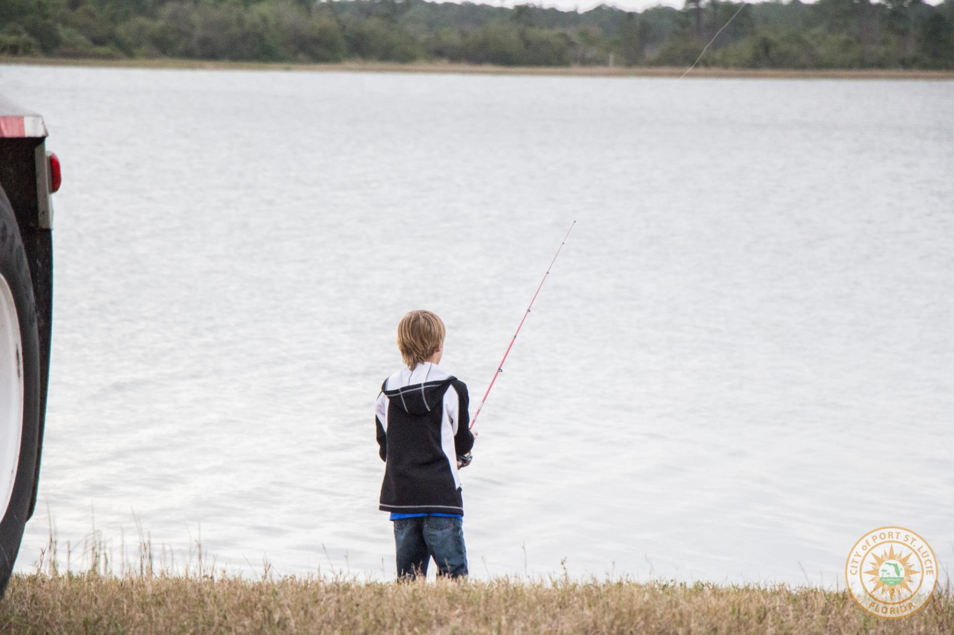 Young participant fishing