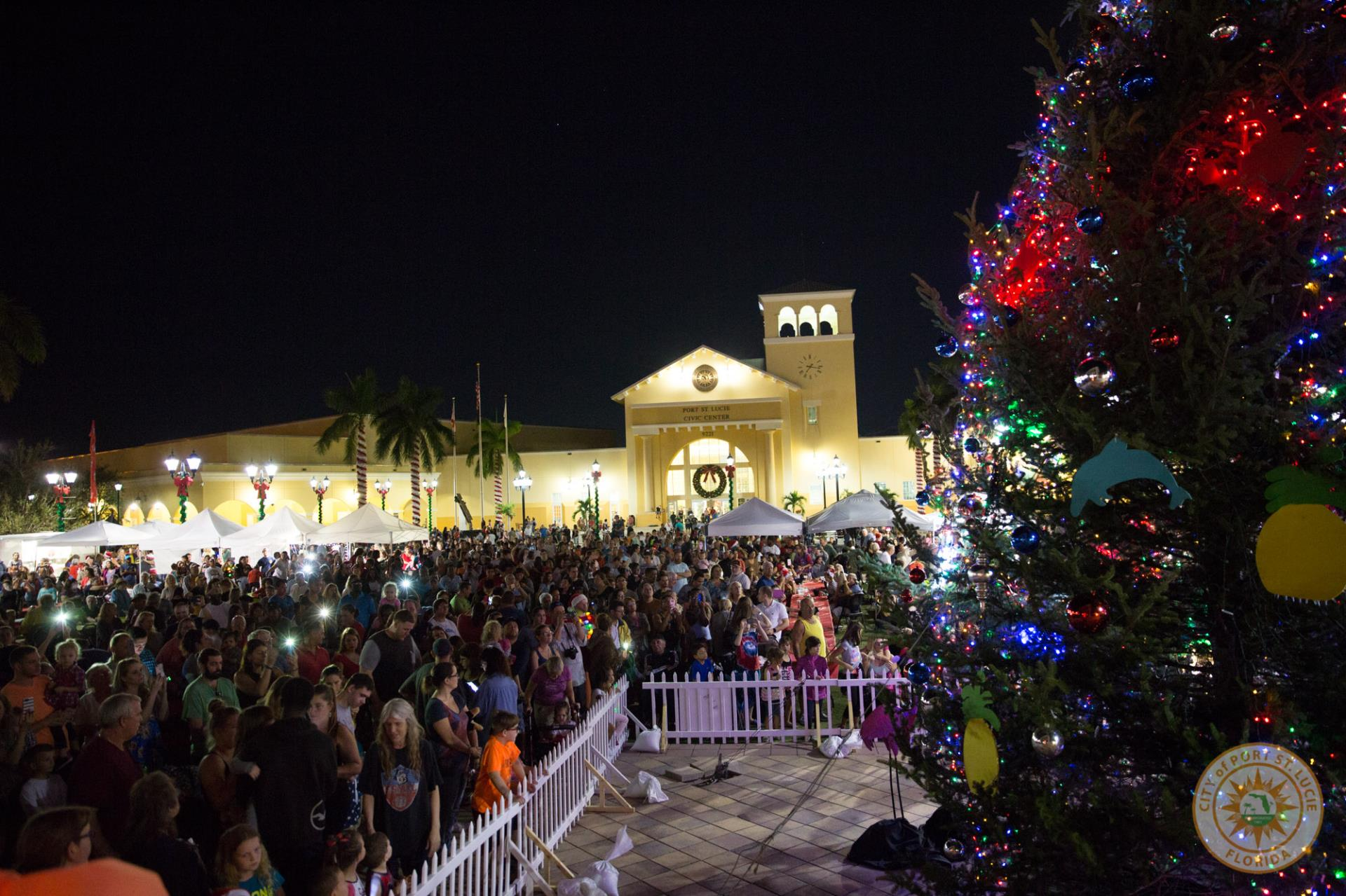 Crowd next to the holiday tree