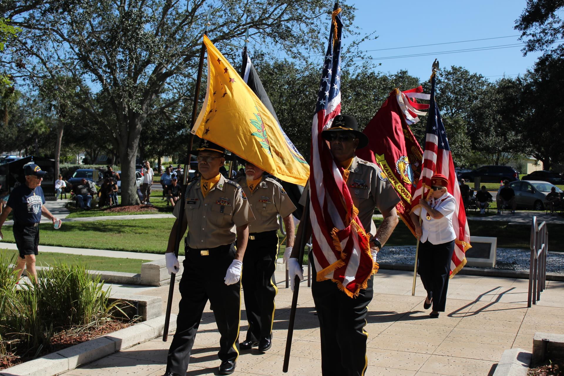 yellow flag at veterans day service