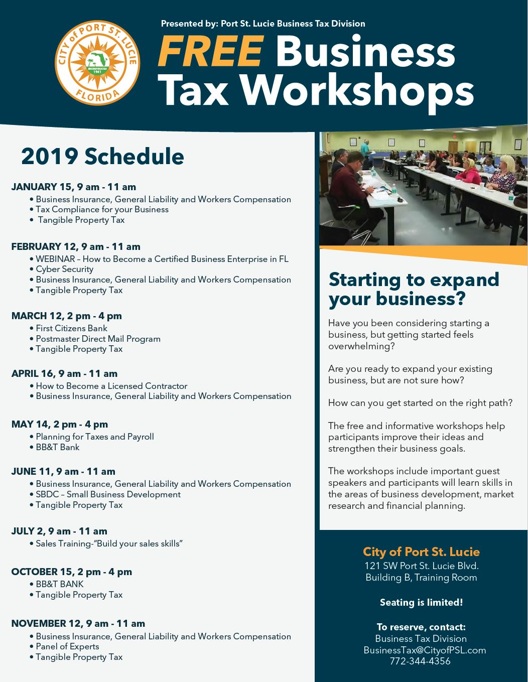 Free Business Tax Workshops 2019 Schedule