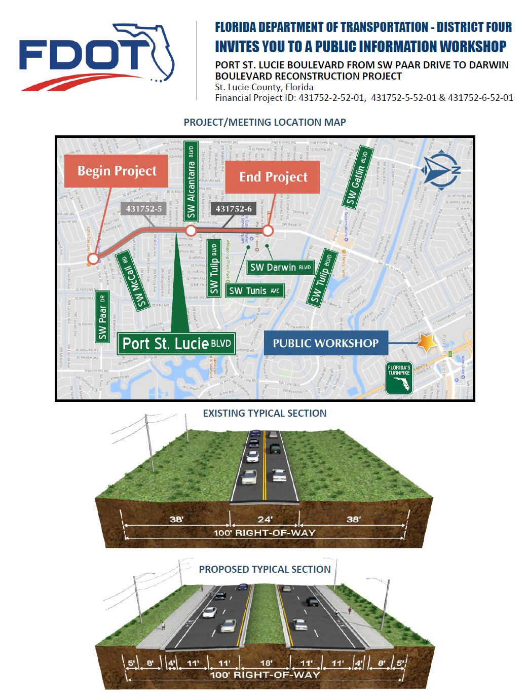 FDOT Workshop: PSL Blvd from SW Paar Drive to Darwin Blvd