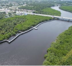 riverwalk along the St Lucie River from the air